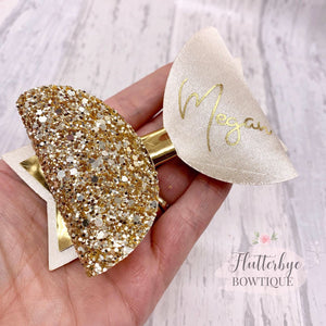 Personalised Champagne Satin Bow, Gold Glitter Name Bow - Flutterbye Bowtique
