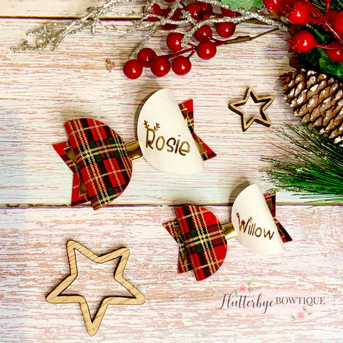 Personalised Tartan Christmas Bow, reindeer Name Bow