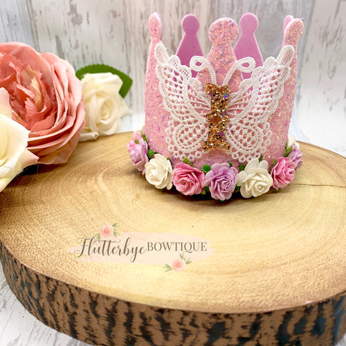 Lace Butterfly Birthday Crown,  Cake Smash Props - Flutterbye Bowtique