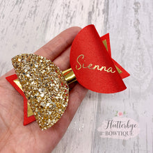 Personalised Red Satin Bow, Gold Glitter Name Bow - Flutterbye Bowtique