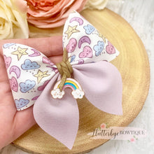 Pastel Rainbow Party Pinch Hair Bow, Rainbow Charm - Flutterbye Bowtique