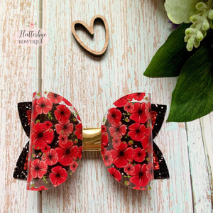 Poppy Sparkle Glitter Hair Bow