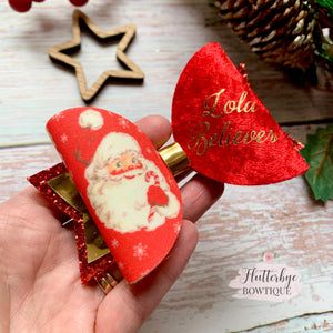Personalised Santa Hair Bow, I believe hair Clip