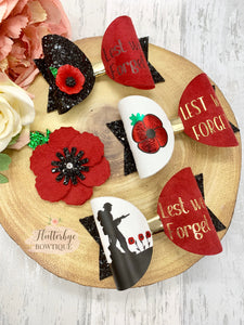 Vinyl Poppy Remembrance Hair Bow, Lest we forget bow