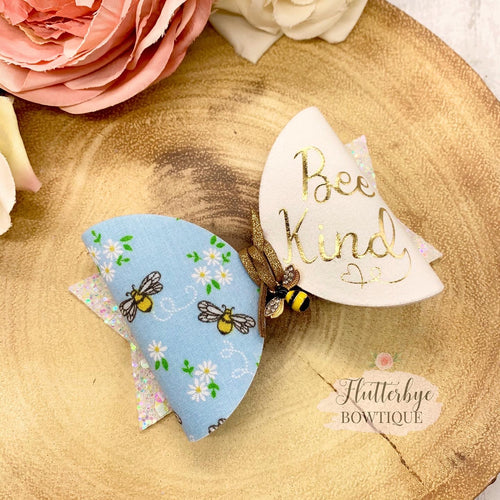 Bee Kind Hair Clips, Bee Charm bow - Flutterbye Bowtique