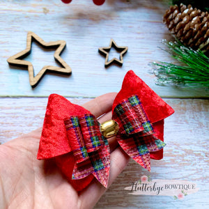 Velvet and Tartan Double Bow
