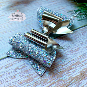 Iridescent Glitter and Mirror Double Bow