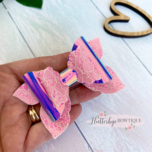 Iridescent Glitter Lace and Mirror Fairy Tails Bow