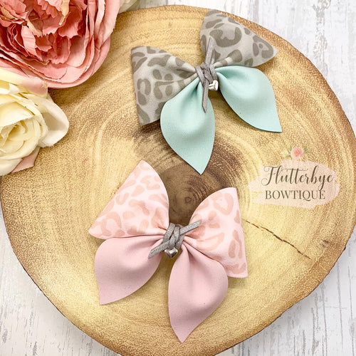 Pastel Leopard Party Pinch Hair Bow - Flutterbye Bowtique