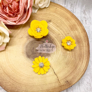 Felt Flower Crown Clips, Any Colour felt flowers - Flutterbye Bowtique