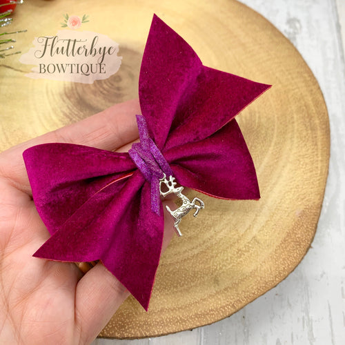 Velvet Garnet Pinch Hair Bow