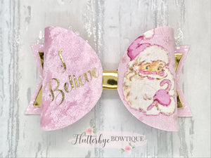 Personalised Santa Hair Bow, I believe hair Clip - Flutterbye Bowtique