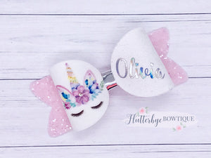 Personalised Pastel Unicorn Hair Bow - Flutterbye Bowtique