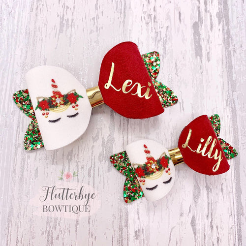 Personalised Christmas Unicorn Hair Bow - Flutterbye Bowtique