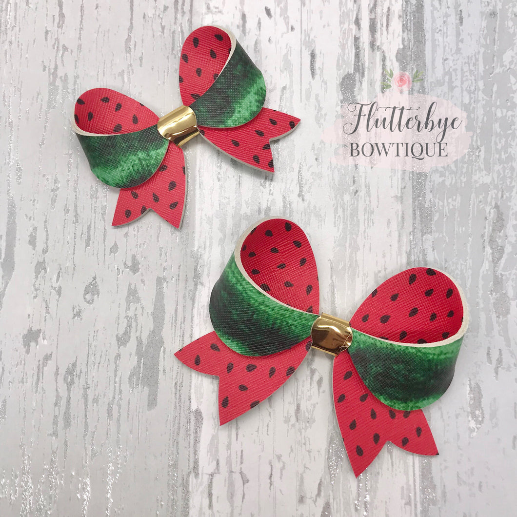 Fancy Watermelon Bows - Flutterbye Bowtique