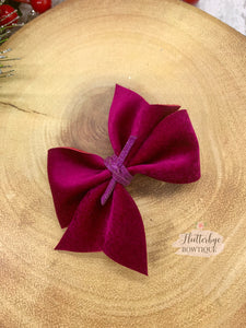 Velvet Garnet Pinch Hair Bow - Flutterbye Bowtique