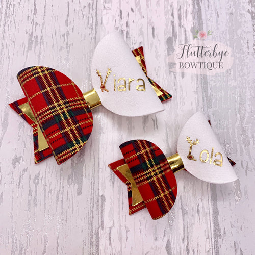 Personalised Tartan Christmas Bow, reindeer Name Bow - Flutterbye Bowtique