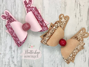 Reindeer Sparkle Bow, Antlers Hair Bow - Flutterbye Bowtique