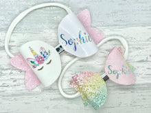 Personalised Pastel Rainbow Hair Bow - Flutterbye Bowtique