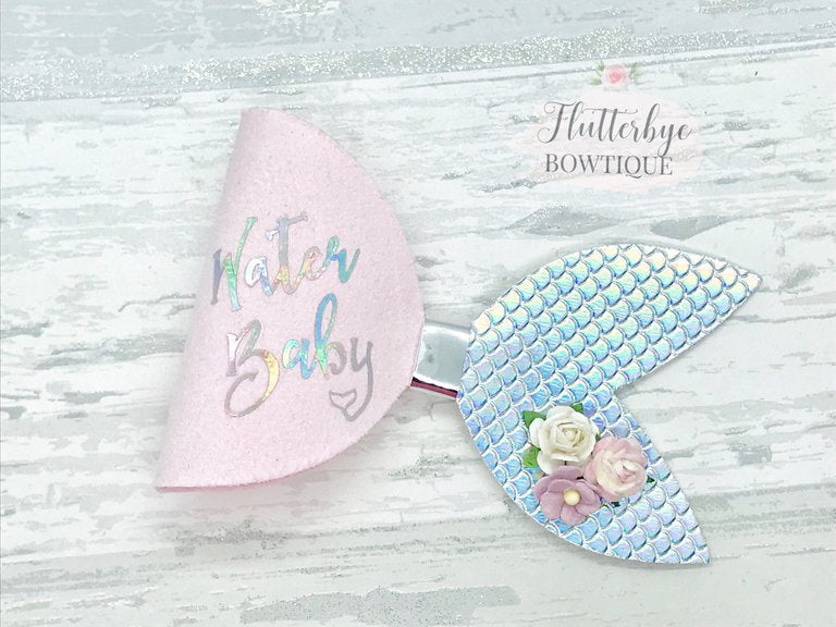 Mermaid Hair Bow, Water Baby Bow, Personalised Mermaid Bow - Flutterbye Bowtique