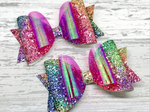 Summer Rainbow Hair Bow, Bright Rainbow Sparkles Bow - Flutterbye Bowtique