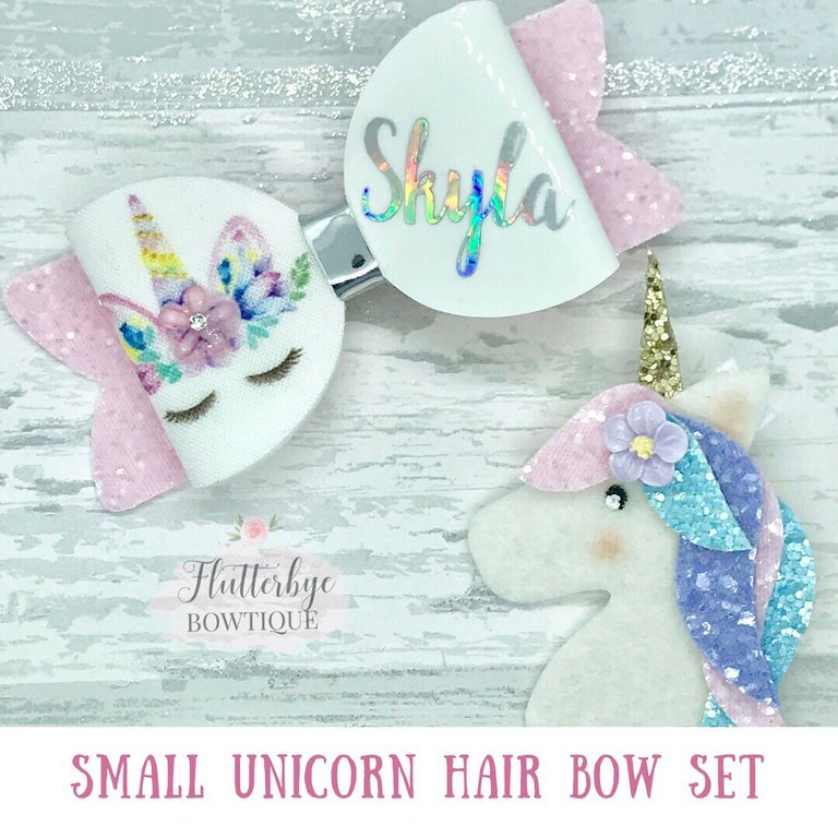Fiver Friday Personalised Unicorn Set, Unicorn Bow and Clip - Flutterbye Bowtique