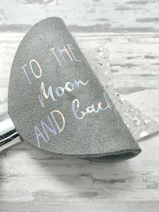 To the moon and back bow, silver glitter bow, clay embellished bow - Flutterbye Bowtique