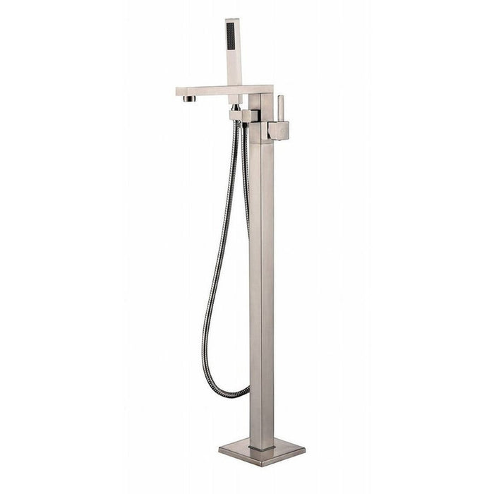 MTD Vanities Eilat 2011 Single Handle Floor Mount Tub Filler with Hand Shower Brushed Nickel Finish