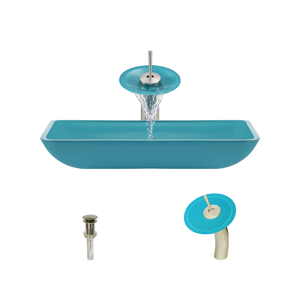 P046 Turquoise-BN Bathroom Waterfall Faucet Ens by Polaris