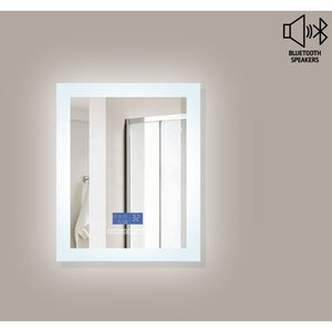 "MTD Vanities Encore BLU102 LED Illuminated Bathroom Mirror with Built-In Bluetooth Speaker with Blue screen - 24"" x 27"""
