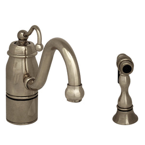 Whitehaus Beluga Kitchen Faucet with Single Curved Handle, Curved Swivel Spout and Solid Brass Side Spray