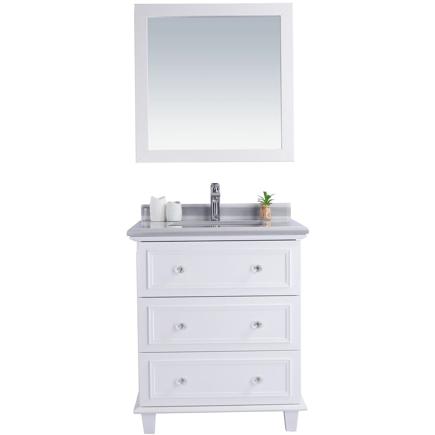 Luna - 30 - White Vanity and White Stripes Counter by Laviva