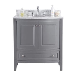 Estella 32 - Grey Cabinet + White Carrera Counter by Laviva