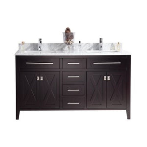 Wimbledon - 60 - Brown Vanity and White Carrera Counter by Laviva