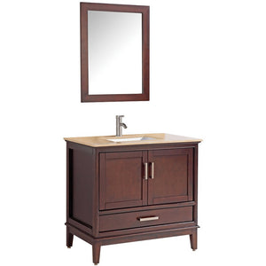 "MTD Vanities Sierra 36"" Single Sink Bathroom Vanity Set, Tobacco"