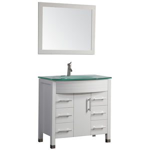 "MTD Vanities Figi 36"" Single Sink Bathroom Vanity Set, White"