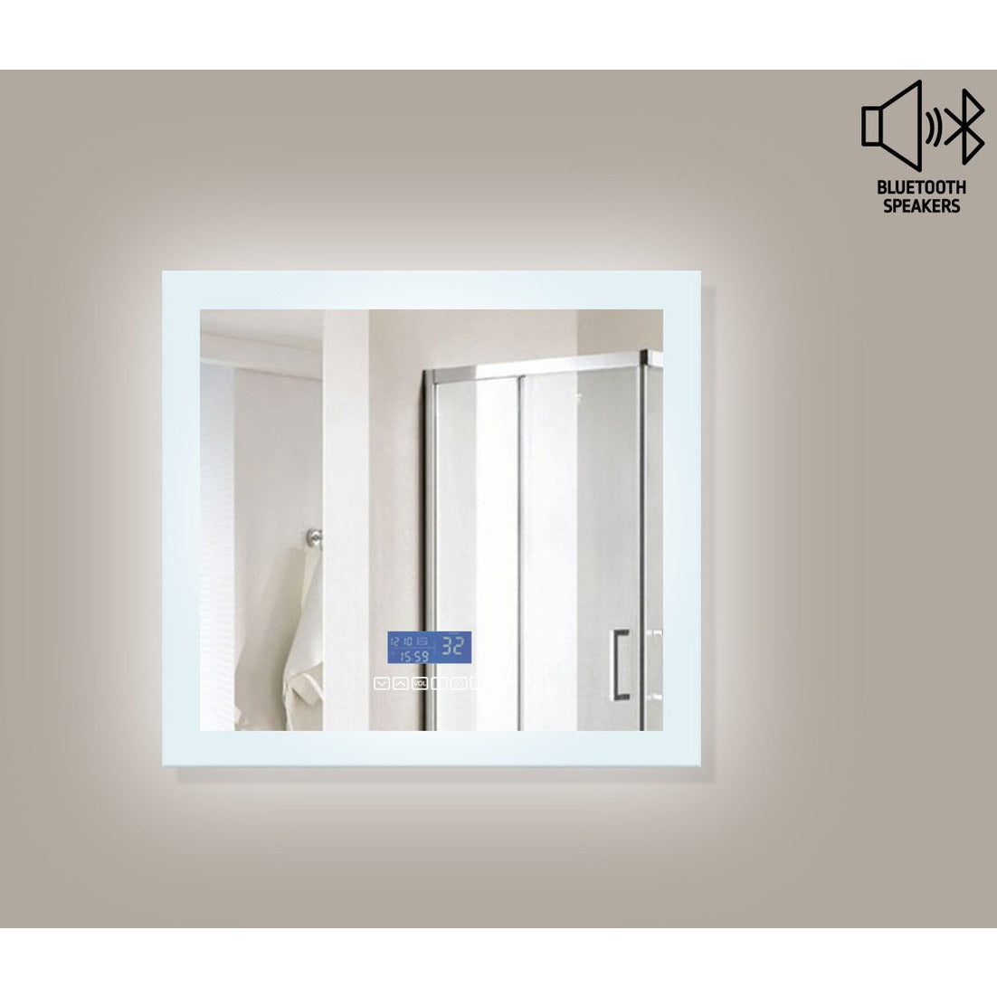 MTD Vanities Encore BLU102 LED Illuminated Bathroom Mirror with Built-In Bluetooth Speaker with Blue screen - 48