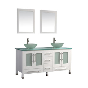 "MTD Vanities Cuba 61"" Double Sink Bathroom Vanity Set, White"