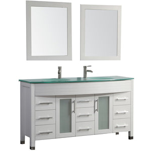 "MTD Vanities Figi 63"" Double Sink Bathroom Vanity Set, White"