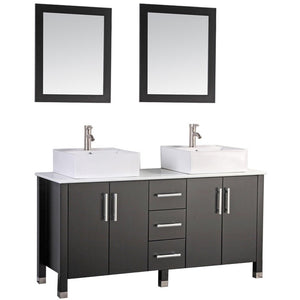 "MTD Vanities Aruba 71"" Double Sink Bathroom Vanity Set, Espresso"
