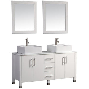 "MTD Vanities Aruba 71"" Double Sink Bathroom Vanity Set, White"