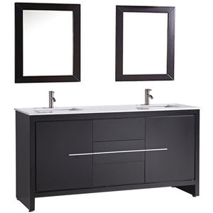 "MTD Vanities Cypress 72"" Double Sink Bathroom Vanity Set, Espresso"