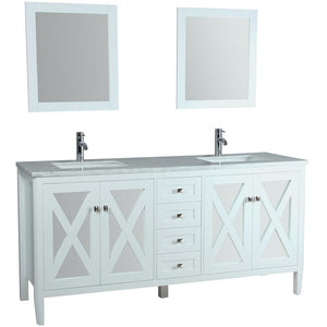 "MTD Vanities Reflection 72"" Double Sink Bathroom Vanity Set, White"