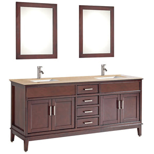 "MTD Vanities Sierra 72"" Double Sink Bathroom Vanity Set, Tobacco"