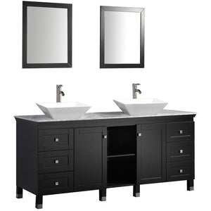 "MTD Vanities Belarus 72"" Double Sink Bathroom Vanity Set, Espresso"