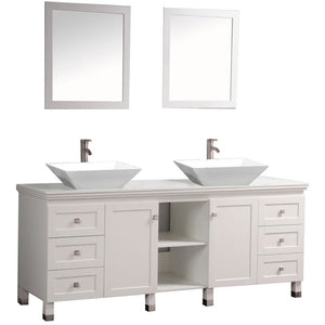 "MTD Vanities Belarus 72"" Double Sink Bathroom Vanity Set, White"