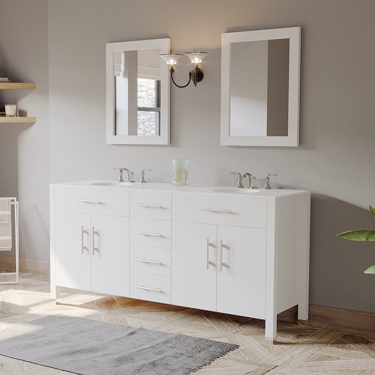 Outstanding Cambridge Plumbing 72 Inch White Solid Wood And Porcelain Double Vanity Set 8162W Home Interior And Landscaping Ferensignezvosmurscom