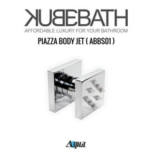 "KubeBath Aqua Piazza Shower Set with 8"" Ceiling Mount Square Rain Shower And 4 Body Jets"