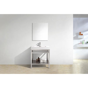 "KubeBath Cisco 30"" Stainless Steel Console W/  White Acrylic Sink"