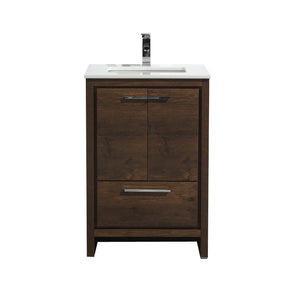 "Dolce 24"" Modern Vanity With White Quartz Countertop by KubeBath"